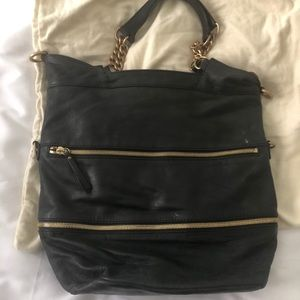 J crew COLLECTION black tote with gold hardware